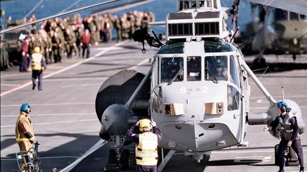 Flight deck operations onboard HMS Ark Royal. Picture: Nathan Dua
