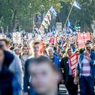 People's Vote campaigners on the march. Photograph: Ollie Millington / RMV / PA,