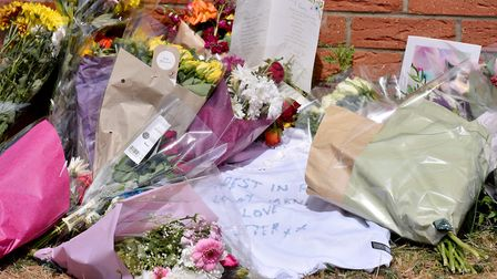 Flowers in memory of Scott Tarrant who was murdered on Underwood Close, Lowestoft.Picture: Nick Butc