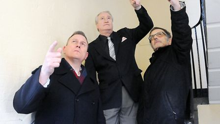 Pictured from left is Cllr Gary Poole, Terry Naylor, Warren Levy. Credit Dieter Perry