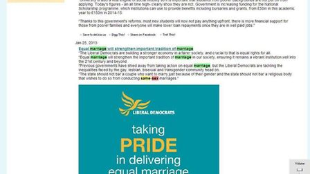 Sarah Teather and the Brent Liberal Democrat website claims to be in favour of equal marriage.