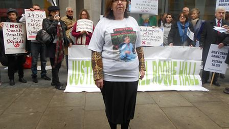Ann Hall and campaigners outside the Ministry of Justice
