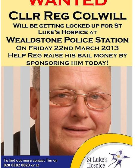 Cllr Reg Colwill will be locked up for charity