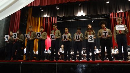 20th Willesden Scouts presenting their piece on stage