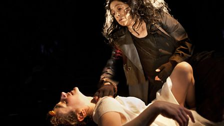 Anna Francolini and Kathryn Hunter in Mare Rider at the Arcola. Picture: Simon Annand