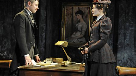 Orlando Wells (Sackville) and Anna Madeley (Governess) in The Turn of the Screw at the Almeida Theat