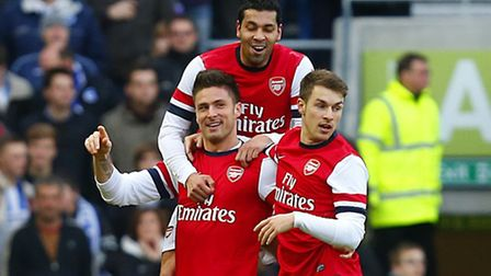 Arsenal's Olivier Giroud celebrates scoring the opening goal of the game in the FA Cup clash at Brig