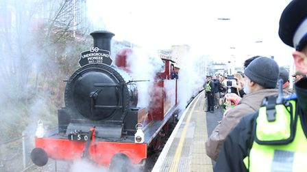 The steam train pulls out Pic: TfL Visual Image Services