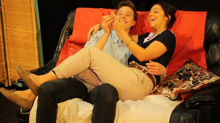 Alex Woolf (Joe) and Katy Daghorn (Sophie) in Fluids at the Pleasance Theatre. Picture: Rose Wardlaw