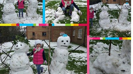 Milenka Szewczyk, 5, of Swallow Drive, Neasden, enjoys the snow