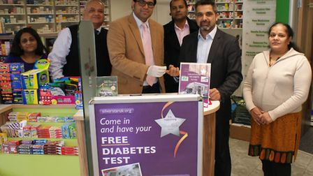 Cllr Muhammed Butt, leader of Brent Council (left centre) and Keith Vaz MP at the launch of the Diab