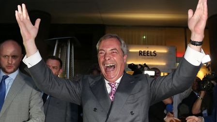 Nigel Farage reacts at the Leave vote. Photo credit: GEOFF CADDICK/AFP/Getty Images