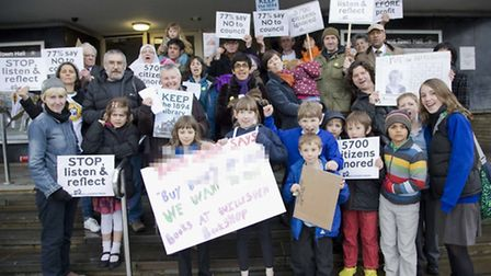 Library campaigners outside Brent Town Hall