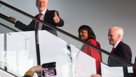 Jeremy Corbyn, Diane Abbott and John McDonnell at Labour Party conference. Photograph: Stefan Rousse