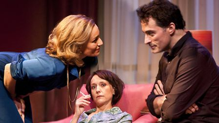 Kristin Scott Thomas as Anna, Lia Williams as Kate and Rufus Sewell as Deeley in Old Times. Picture:
