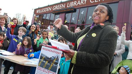 Campaigners outside Willesden Green Library 10.03.12. Pictured front Gill Wood with petition.