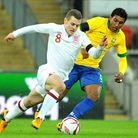 Arsenal's Jack Wilshere on the attack for England against Brazil at Wembley last week. Photo: Neal S