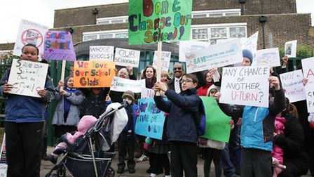 Parents, staff and pupils protest outside Gladstone Park School.