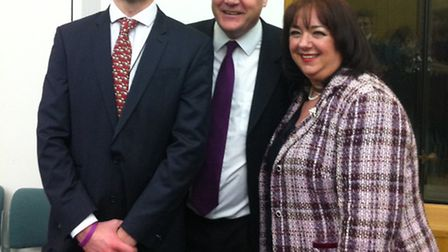 Cllr Michael Pavey with Ed Balls MP, shaddow chancellor and Sharon Hodgon MP, shaddow children's min