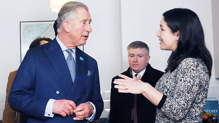 The Prince of Wales meets teacher Shehnaz O'Mallie, 36, at her home in Highbury Gardens. Picture: Di