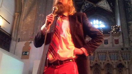 Sanderson Jones speaks at the first Sunday Assembly gathering