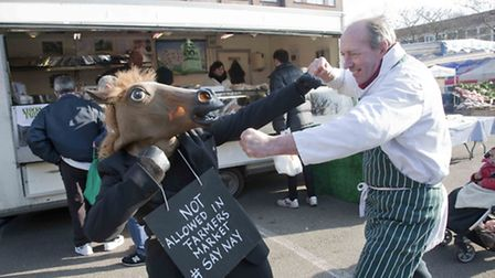 A protest against the horse meat scandal took place at Queen's Park Farmers Market (Pic credt: Jan N