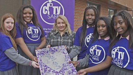 Lorraine Dinnegan with pupils from Mount Carmel Catholic College for Girls