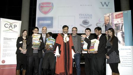 Students at the Young Consumers of the Year contest at Emirates Stadium with Cllr Jilani Chowdhury,