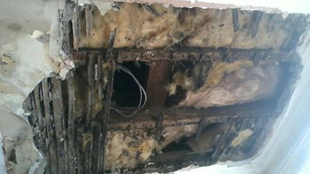 The hole in the ceiling which has been left unattended