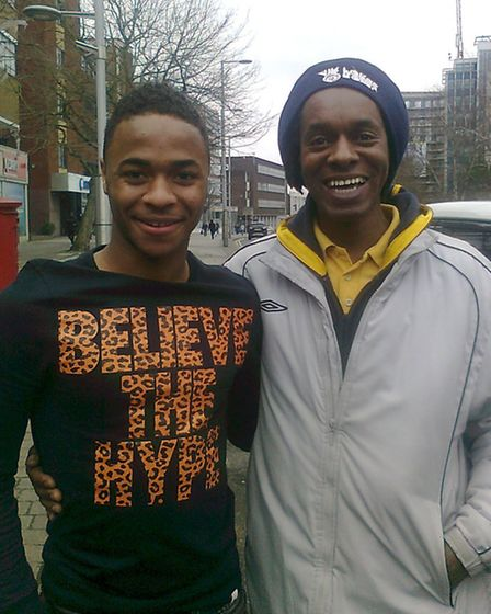 Raheem Sterling with his former teacher Paul Lawrence