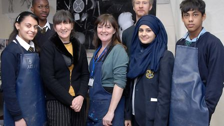 Jane McAdam Freud (front row, second left) with pupils and Fanzia Leo, an artist who is working with