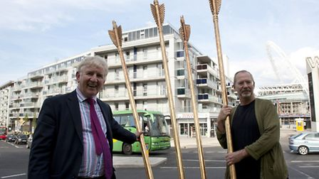 Cllr Jim Moher (left) with Matt Olsen of James Glancy Design who made and installed the sculpture