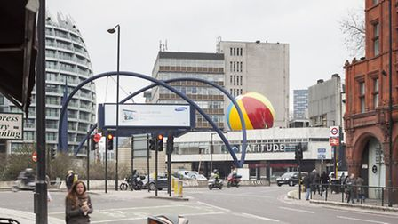A beachball has appeared on the Old Street roundabout Pic: Matt Chisnall