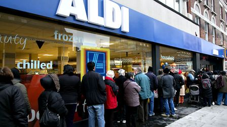 People queuing up at the opening of the new Aldi store in Kilburn