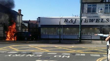 The gang robbed Raj Jewels and set fire to a car outside (Pic credit: Cllr Krupa Sheth)