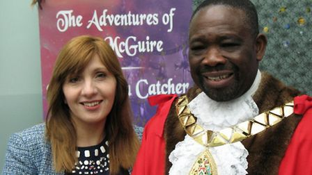 Author Rayner Tapia with Cllr Michael Adeyeye, Mayor of Brent.