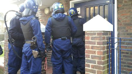 Police carrying out a raid this morning