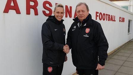 New Arsenal Ladies manager Shelly Kerr with Asenal Ladies general manager Vic Akers at the Gunners'