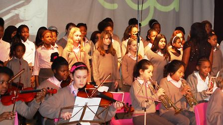 Girls from EGA belt sing at the event