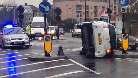 A car flipped at the controversial layout