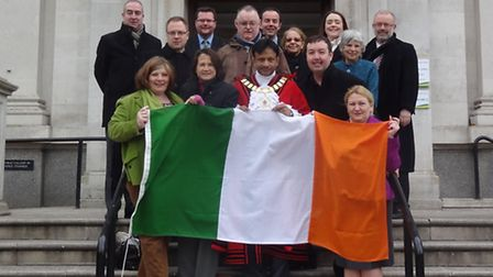 The Irish flag was raised above the Town Hall on Monday