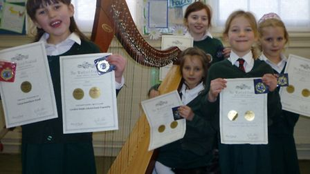 Pupils from the London Welsh School were honoured for their Harp playing