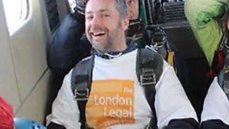 Ian Kane from Brent Community Law Centre prior to his jump