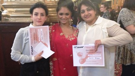 College of North West London hairdressing students Agnesa Restelica (left) and Sairah Asghar (right)