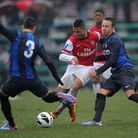 Serge Gnabry of Arsenal under-19s in action during the last 16 win over holders Inter Milan