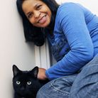 Marie Benoit and her cat Midnight