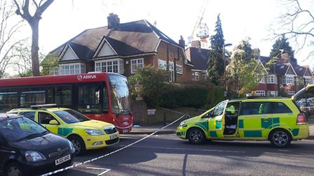 The scene where Derek Boateng was stabbed on a bus in Highbury on Tuesday