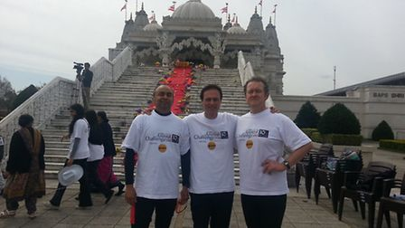 L-R: Syed Shah, Paul Lorber and Peter Corcoran celebrate after compleating the 10km run