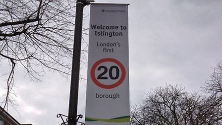 One of the new 20mph banners that cost £339 each