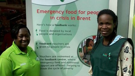 Michele Lawrence from Brent Food Bank (right) with Tracey Henry from ASDA Wembley
